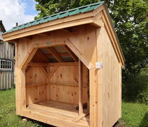 Wood storage shed for one cord of firewood