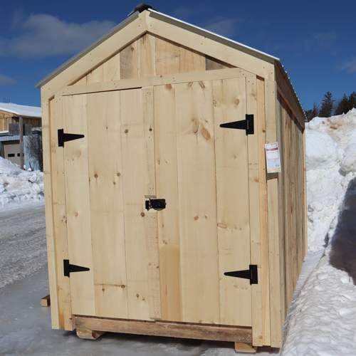 6x12 Economy Nantucket B with Pine Board Siding and Galvalume Corrugated Metal Roofing