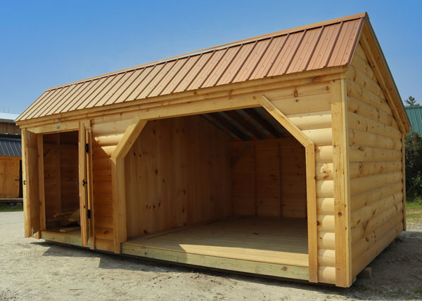 240 square foot firewood storage shed with enclosed tool storage side.