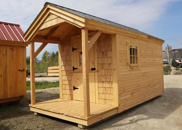 Prefab Garden Shed with Porch and Cedar Siding