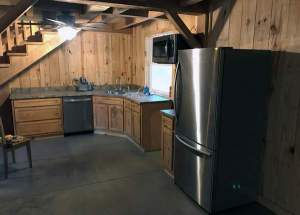 Kitchen and Stair System of the Timber Frame Cabin