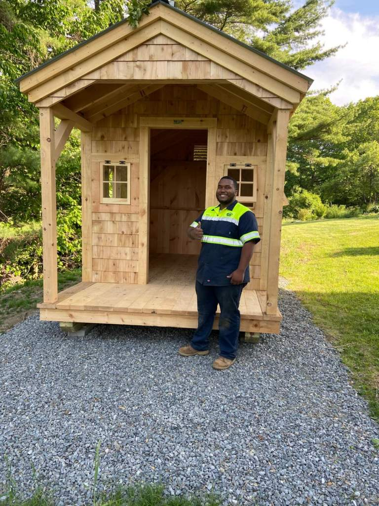 This cedar sided shed was set on top of a gravel pad foundation option