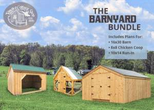 The Barnyard Bundle is a package of DIY building plans for farm structures.