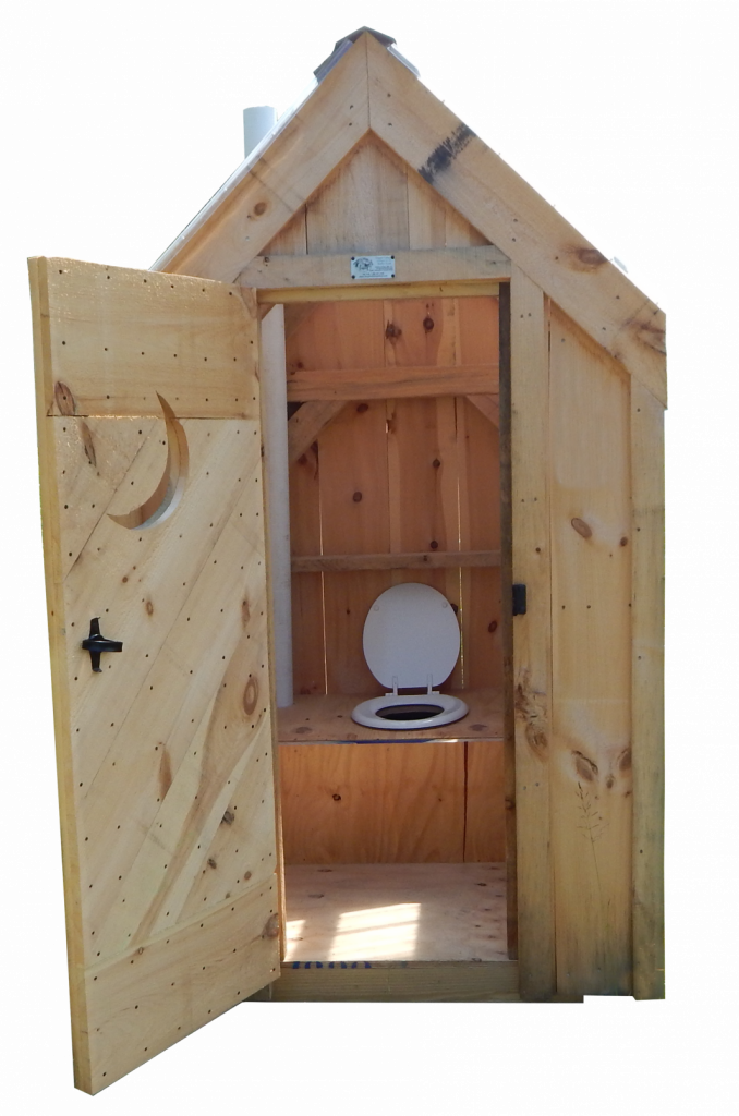 This small outhouse is tiny, yet spacious inside. Take a look at the interior featuring a built in bench with attached toilet seat.