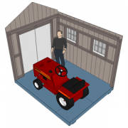 three-dimensional view of interior of a storage shed