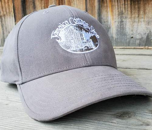 Baseball Cap in gray with Jamaica Cottage Shop logo