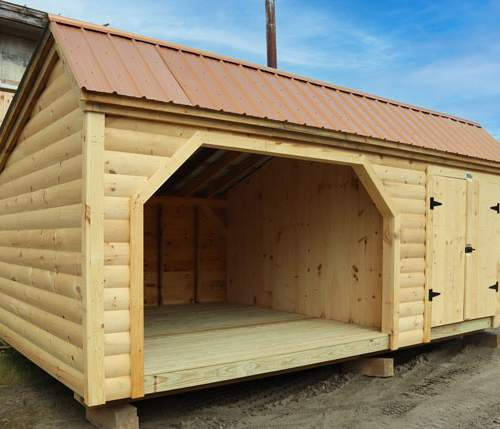 12x20 Weekender Firewood Storage Shed with Enclosed Side