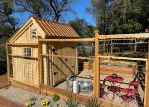 8x12 Saltbox Storage Shed with Fenced Garden